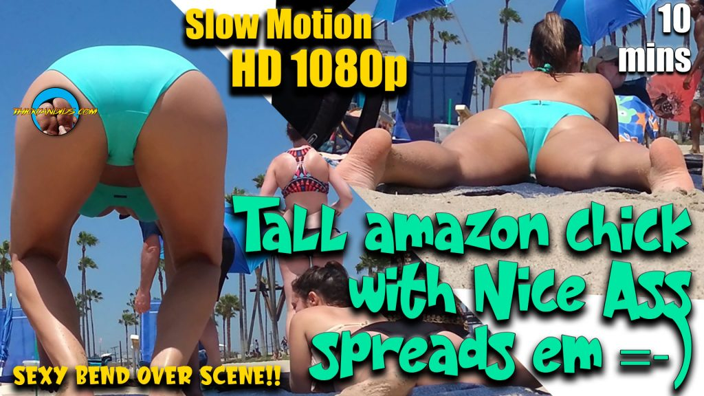 Tall amazon chick with Nice Ass spreads em Bikini Thong Part. 1