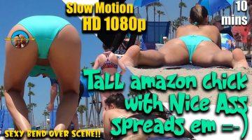 Tall-amazon-chick-with-Nice-Ass-spreads-em-=-)-(Bikini-Thong)-Part.-1
